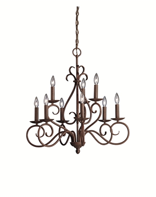 Kichler 1714TZ Norwich Collection Chandelier 9 Light in Tannery Bronze