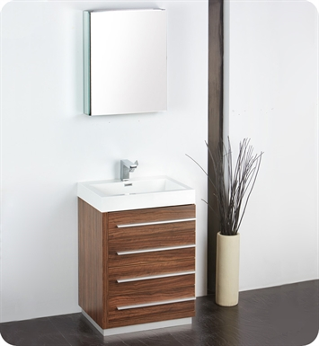 "Fresca FVN8024GW Livello 24"" Modern Bathroom Vanity with Medicine Cabinet in Walnut"