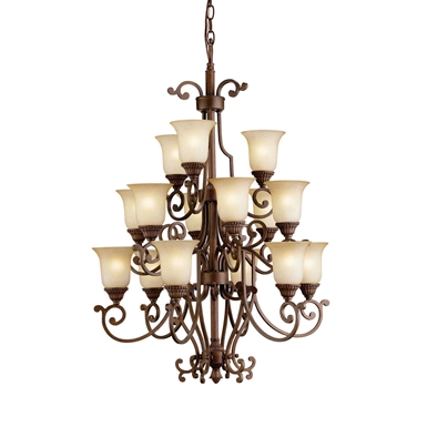 Kichler Larissa Collection Chandelier 15 Light in Tannery Bronze with Gold Accent