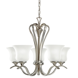 Kichler Wedgeport Collection Chandelier 5 Light Fluorescent in Brushed Nickel
