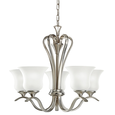 Kichler 10740NI Wedgeport Collection Chandelier 5 Light Fluorescent in Brushed Nickel