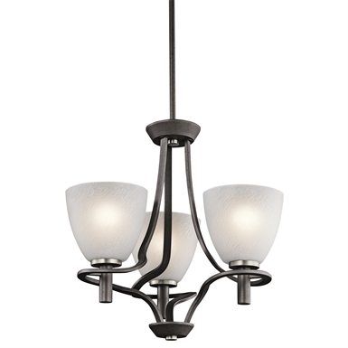 Kichler 43025AVI Neillo Collection Mini Chandelier 3 Light in Anvil Iron