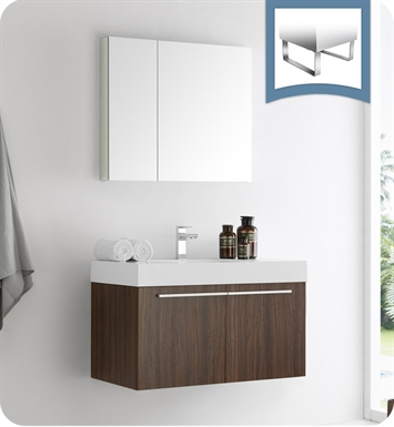 "Fresca FVN8090GW Vista 36"" Walnut Modern Bathroom Vanity with Medicine Cabinet"