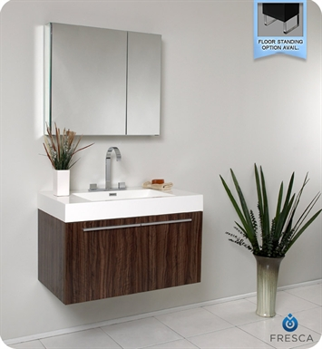Fresca FVN8090GW Vista Modern Bathroom Vanity with Medicine Cabinet in Walnut