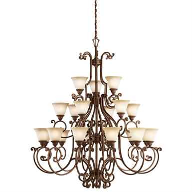 Kichler Larissa Collection Chandelier 21 Light in Tannery Bronze with Gold Accent