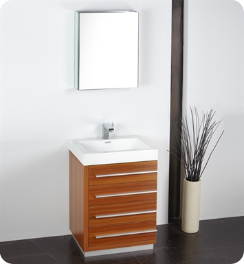 "Fresca FVN8024TK Livello 24"" Modern Bathroom Vanity with Medicine Cabinet in Teak"