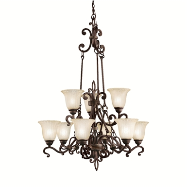 Kichler 2091CZ Wilton Collection Chandelier 9 Light in Carre Bronze