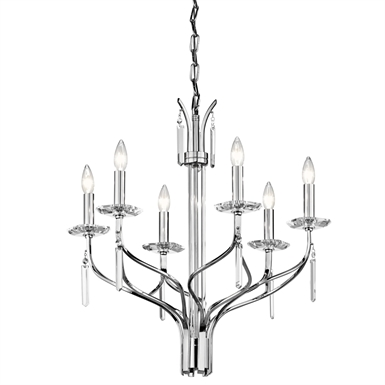 Kichler 42927CH Aliso Collection Chandelier 6 Light in Chrome