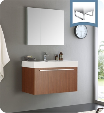 Fresca FVN8090TK Vista Modern Bathroom Vanity with Medicine Cabinet in Teak