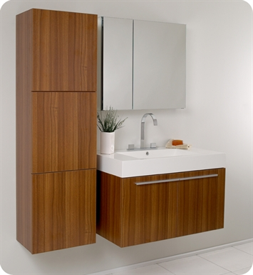 Fresca fvn8090tk vista modern bathroom vanity with for Modern teak kitchen cabinets