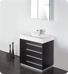 "Fresca FVN8030BW Livello 30"" Modern Bathroom Vanity with Medicine Cabinet in Black"
