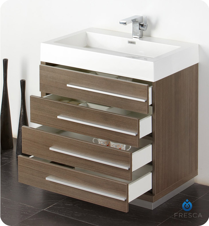 Fresca Fvn8030go Livello 30 Modern Bathroom Vanity With Medicine Cabinet In Gray Oak