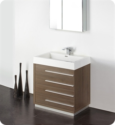 "Fresca Livello 30"" Gray Oak Modern Bathroom Vanity with Medicine Cabinet"