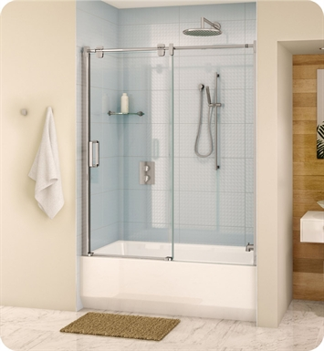 Fleurco LG060-11-40 Luxe Glide Tub Door and Panel With Hardware Finish: Bright Chrome And Glass Type: Clear Glass