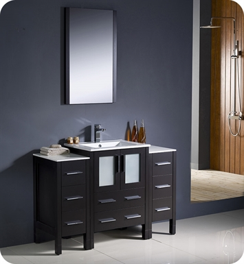 "Fresca FVN62-122412ES-UNS Torino 48"" Modern Bathroom Vanity with 2 Side Cabinets and Integrated Sink in Espresso"