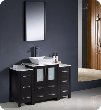 "Fresca FVN62-122412ES-VSL Torino 48"" Modern Bathroom Vanity with 2 Side Cabinets and Vessel Sink in Espresso"