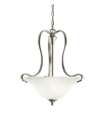 Kichler 10742NI Wedgeport 2 Light Fluorescent Inverted Pendant with Bowl Shaped Glass Shade With Finish: Brushed Nickel