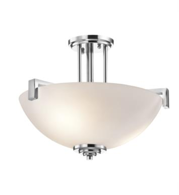 Kichler 3797NI Eileen 3 Light Incandescent Semi-Flush Inverted Pendant with Bowl Shaped Glass Shade With Finish: Brushed Nickel