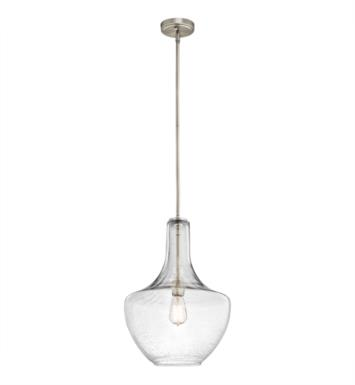 Kichler 42046NICS Everly 1 Light Incandescent Pendant with Clear Seedy Glass Shade With Finish: Brushed Nickel