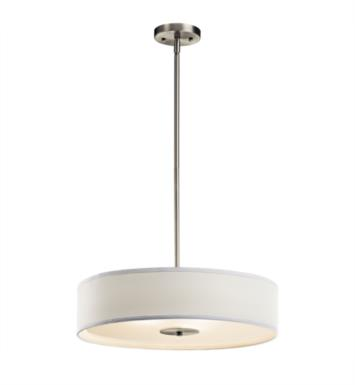 Kichler 42121NI 3 Light Incandescent Semi-Flush Convertible Pendant with Drum Fabric Shade With Finish: Brushed Nickel