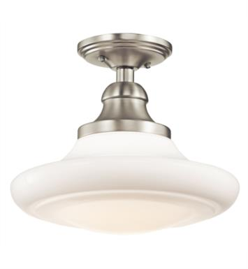 Kichler 42270NI Keller 1 Light Incandescent Semi-Flush Pendant with Schoolhouse Shaped Glass Shade With Finish: Brushed Nickel