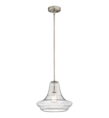 "Kichler 42328NICS Everly 1 Light 12 1/2"" Incandescent Pendant with Clear Seedy Glass Shade With Finish: Brushed Nickel"