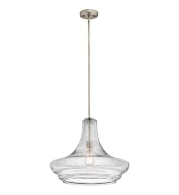 "Kichler 42329NICS Everly 1 Light 19"" Incandescent Pendant with Clear Seedy Glass Shade With Finish: Brushed Nickel"