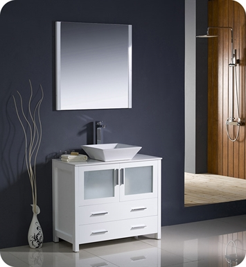 "Fresca FVN6236WH-VSL Torino 36"" Modern Bathroom Vanity with Vessel Sink in White"
