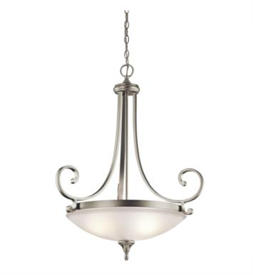 Kichler 43164NI Monroe 3 Light Incandescent Inverted Pendant with Bowl Shaped Glass Shade With Finish: Brushed Nickel