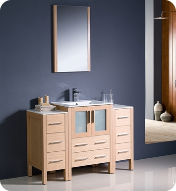 "Fresca FVN62-122412LO-UNS Torino 48"" Modern Bathroom Vanity with 2 Side Cabinets and Integrated Sink in Light Oak"