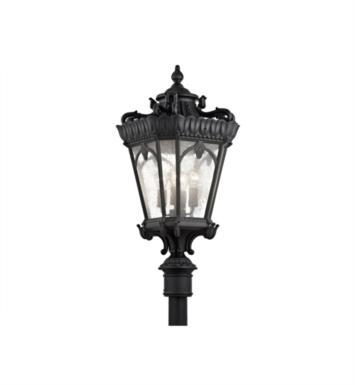 "Kichler 9565BKT Tournai 4 Light 17"" Incandescent Outdoor Post Mount Lantern With Finish: Textured Black"