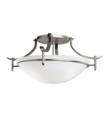 Kichler 3606 Olympia 3 Bulb Incandescent Semi-Flush Mount Ceiling Light with Bowl Shaped Glass Shade