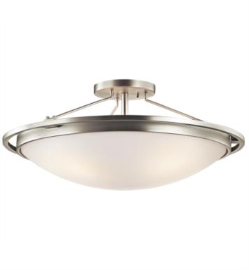 Kichler 42025NI 4 Bulb Incandescent Semi-Flush Mount Ceiling Light with Bowl Shaped Glass Shade With Finish: Brushed Nickel