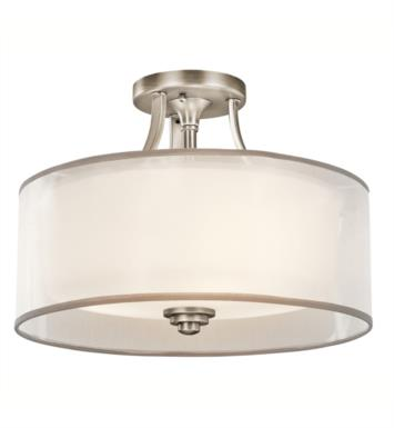 Kichler 42386MIZ Lacey 3 Bulb Incandescent Semi-Flush Mount Ceiling Light with Drum Shaped Glass Shade With Finish: Mission Bronze