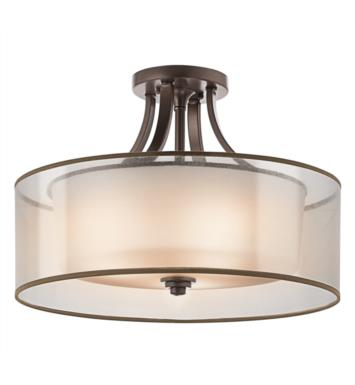 Kichler 42387MIZ Lacey 4 Bulb Incandescent Semi-Flush Mount Ceiling Light with Drum Shaped Glass Shade With Finish: Mission Bronze