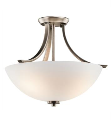 Kichler 42563OZ Granby 3 Bulb Incandescent Semi-Flush Mount Ceiling Light with Bowl Shaped Glass Shade With Finish: Olde Bronze