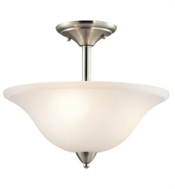 Kichler 42879NI Nicholson 3 Bulb Incandescent Semi-Flush Mount Ceiling Light with Bowl Shaped Glass Shade With Finish: Brushed Nickel