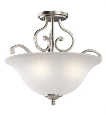 Kichler 43232NI Camerena 3 Bulb Incandescent Semi-Flush Mount Ceiling Light with Bowl Shaped Glass Shade With Finish: Brushed Nickel