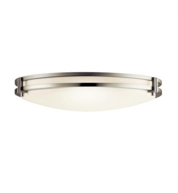 Kichler 10827NI 2 Light Compact Fluorescent Flush Mount Ceiling Light with Round Shaped Synthetic Shade With Finish: Brushed Nickel