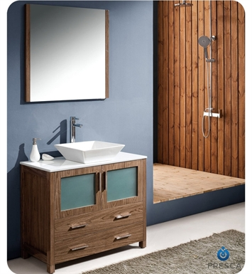 "Fresca FVN6236WB-VSL Torino 36"" Modern Bathroom Vanity with Vessel Sink in Walnut Brown"