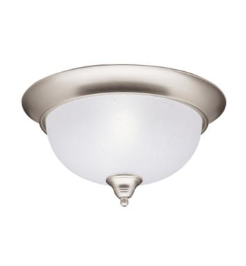 Kichler 8064NI Dover 2 Light Incandescent Flush Mount Ceiling Light with Bowl Shaped Glass Shade With Finish: Brushed Nickel