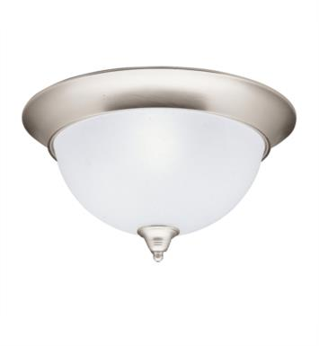Kichler 8065NI Dover 3 Light Incandescent Flush Mount Ceiling Light with Bowl Shaped Glass Shade With Finish: Brushed Nickel