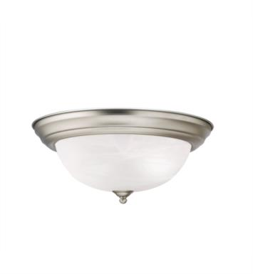 "Kichler 8109NI 2 Light 13 1/4"" Incandescent Flush Mount Ceiling Light with Dome Shaped Glass Shade With Finish: Brushed Nickel"