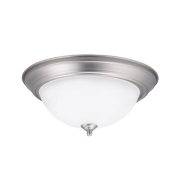 "Kichler 8112NILED 1 Light 13 1/4"" LED Flush Mount Ceiling Light with Bowl Shaped Glass Shade With Finish: Brushed Nickel"