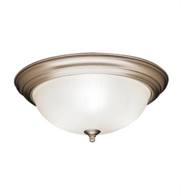 Kichler 8655 3 Light Incandescent Flush Mount Ceiling Light with Bowl Shaped Glass Shade