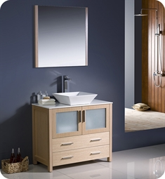 "Fresca FVN6236LO-VSL Torino 36"" Modern Bathroom Vanity with Vessel Sink in Light Oak"
