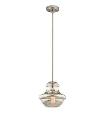 Kichler 42167NIMER Everly 1 Light Incandescent Mini Pendant with Schoolhouse Shaped Glass Shade With Finish: Brushed Nickel