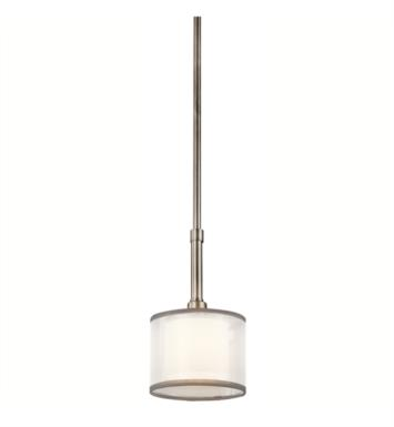 Kichler 42384AP Lacey 1 Light Incandescent Mini Pendant with Drum Shaped Organza Shade With Finish: Antique Pewter