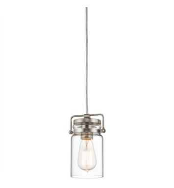 Kichler 42878NI Brinley 1 Light Incandescent Mini Pendant with Canning Jar Shaped Glass Shade With Finish: Brushed Nickel