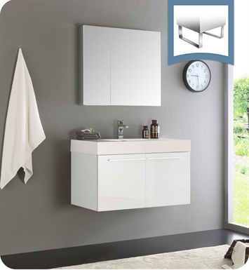 Fresca FVN8090WH Vista Modern Bathroom Vanity with Medicine Cabinet in White